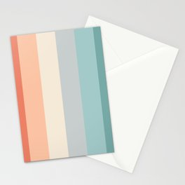 striped color pattern - red , orange, grey, green, Stationery Cards