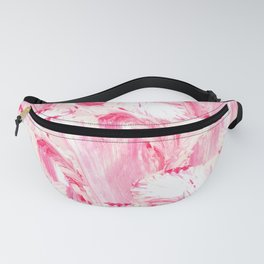 Artsy Girly Pink Coral Abstract Floral Painting Fanny Pack