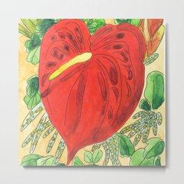 Caribbean flower red Anthurium Madinina Island Metal Print