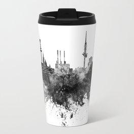Hannover skyline in black watercolor Travel Mug