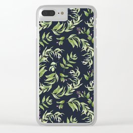 Pink green hand painted watercolor floral leaves pattern Clear iPhone Case