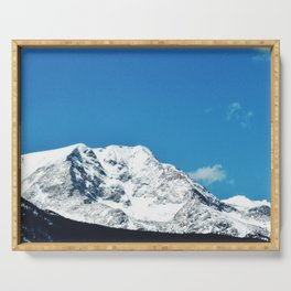 bold mountain against the sky Serving Tray
