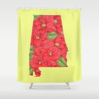 alabama Shower Curtains featuring Alabama in Flowers by Ursula Rodgers