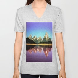 Grand Tetons 🌄 Purple Reflection Unisex V-Neck