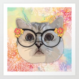 Cat with flower glasses Art Print