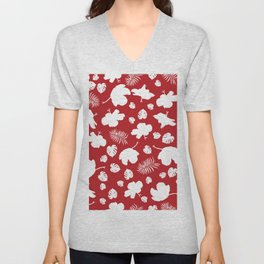Hand drawn hibiscus floral seamless pattern for fabric design vector carmine red background Unisex V-Neck