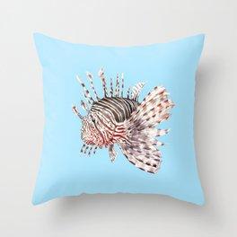 Watercolor Lionfish Tropical Fish Marine Life Painting Throw Pillow