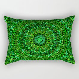 Green Spiritual Mandala Garden Rectangular Pillow