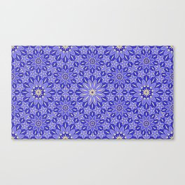 Rings of Flowers - Color: Royal Blue & Gold Canvas Print