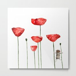 Mouse and poppies - Watercolor illustration Animal + Poppy Flower Metal Print