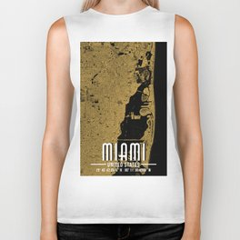 Miami Map Print - US City Biker Tank