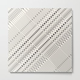 Pattern lines mosaic black and white Metal Print