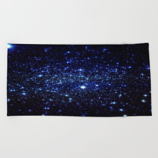 Dark Blue Stars Beach Towel