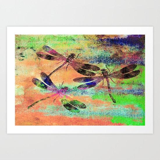 Mauritius Vintage Dragonflies Colours C Art Print