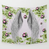 angel wings Wall Tapestries featuring angel wings by karens designs