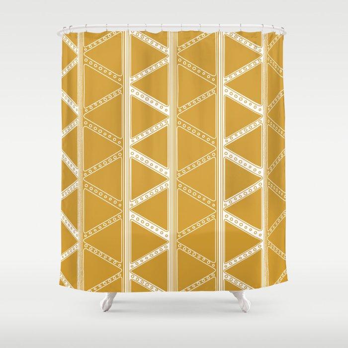 SARA Mustard Shower Curtain By Martalaguna
