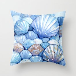 Sea Shells Aqua Throw Pillow