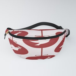Christmas Pattern Pidgeon Patterns Red White Fanny Pack