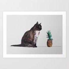 cat and pineapple Art Print