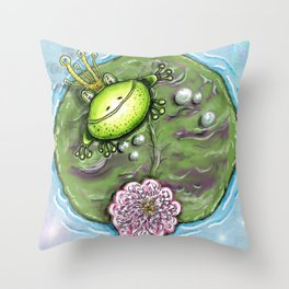 Frog Prince on His Lily Pad Throw Pillow