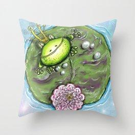 Frog Prince on His Lily Pad Throw Pillow