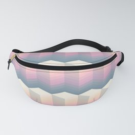 Pixelated retro sunset cube - abstraction cool orange cubism Fanny Pack