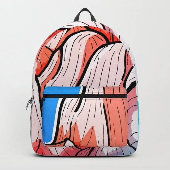 The red and blue tipped mountains Backpack