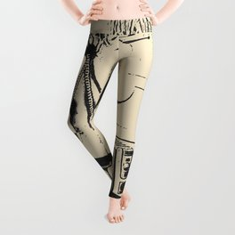 Erotic slave girl, curvy body blonde BDSM, bondage, cuffed and chained, sexy nude art Leggings