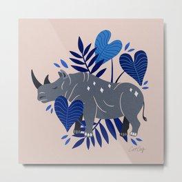 Sumatran Rhino – Blue & Grey Metal Print