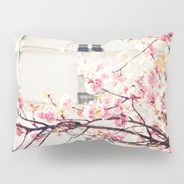 Cherry blossoms in Paris, Facades Pillow Sham