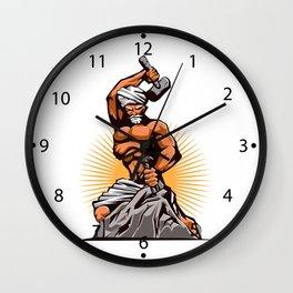 Sculptor Hammer Chisel Retro Wall Clock