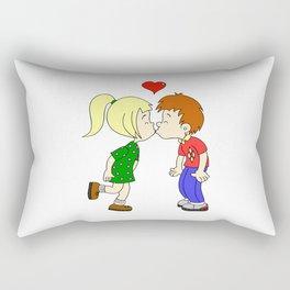 Cute boy girl kiss cartoon Rectangular Pillow