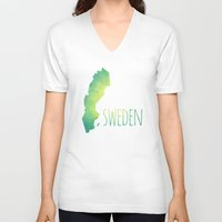 sweden V-neck T-shirts featuring Sweden by Stephanie Wittenburg