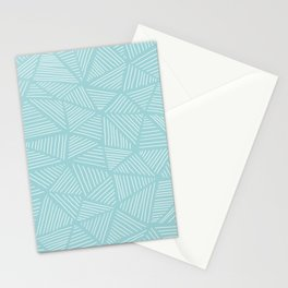 Powder Blue Triangles Stationery Cards