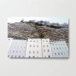 Pastel Buildings in Salzburg, Austria Metal Print