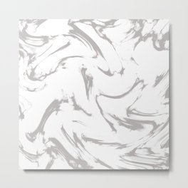 Marble Black and White Grey Gray Marble Swirl Metal Print