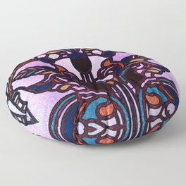 Pink Blue and Green Glowing Art Nouveau Stain Glass Design Floor Pillow