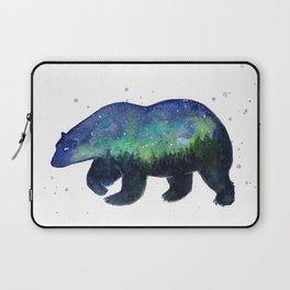 Polar Bear Silhouette with Northern Lights Galaxy Laptop Sleeve