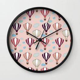 Pink Hot Air Balloon Blue Clouds Pattern Design  Wall Clock