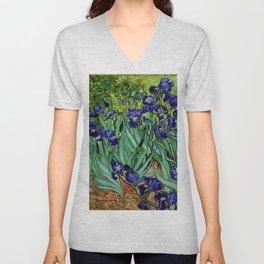 Van Gogh Purple Irises at St. Remy Unisex V-Neck