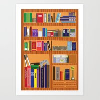 video game Art Prints featuring Video Game Geek's Bookshelf by ambivalentpress