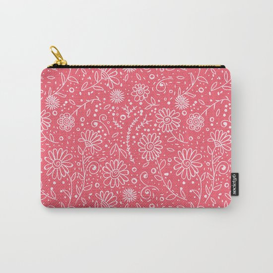 Red doodle floral pattern Carry-All Pouch