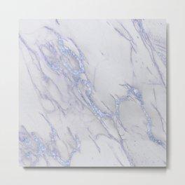 Marble Love Sapphire Metallic Metal Print