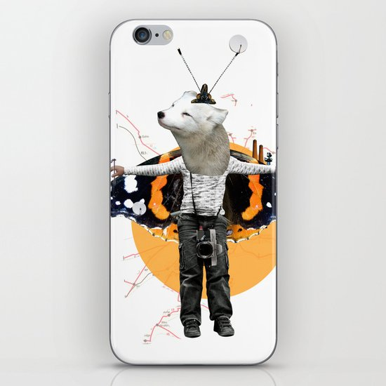 White Urban Illusion City Fox Kid Collage iPhone & iPod Skin