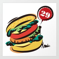 hamburger Art Prints featuring Hamburger by skyboysv