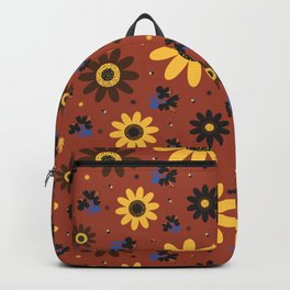 Retro Fall 60's Sunflower Floral in Brown Backpack