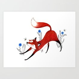Fox and Bee Art Print