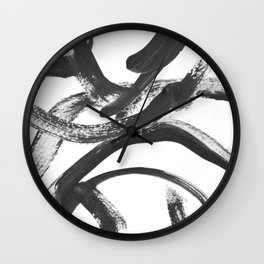 Interlock black and white paint swirls Wall Clock