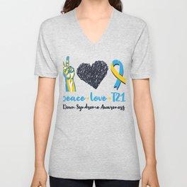Peace Love T21 Down Syndrome Awareness Sped Teacher Unisex V-Neck