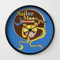 pie Wall Clocks featuring Moon Pie by Ashley Hay